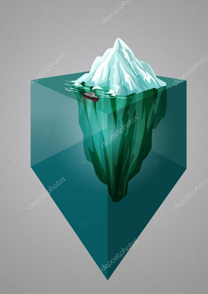 Iceberg background. Isometric 3D illustration. Underwater or above water level. Vector illustration