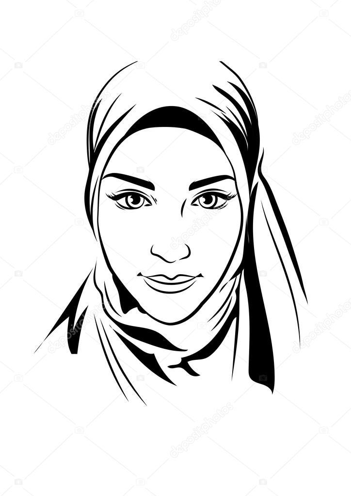 Ritratto di bella ragazza musulmana in hijab fantasia, illustrazione  vettoriale, lo stile di disegno