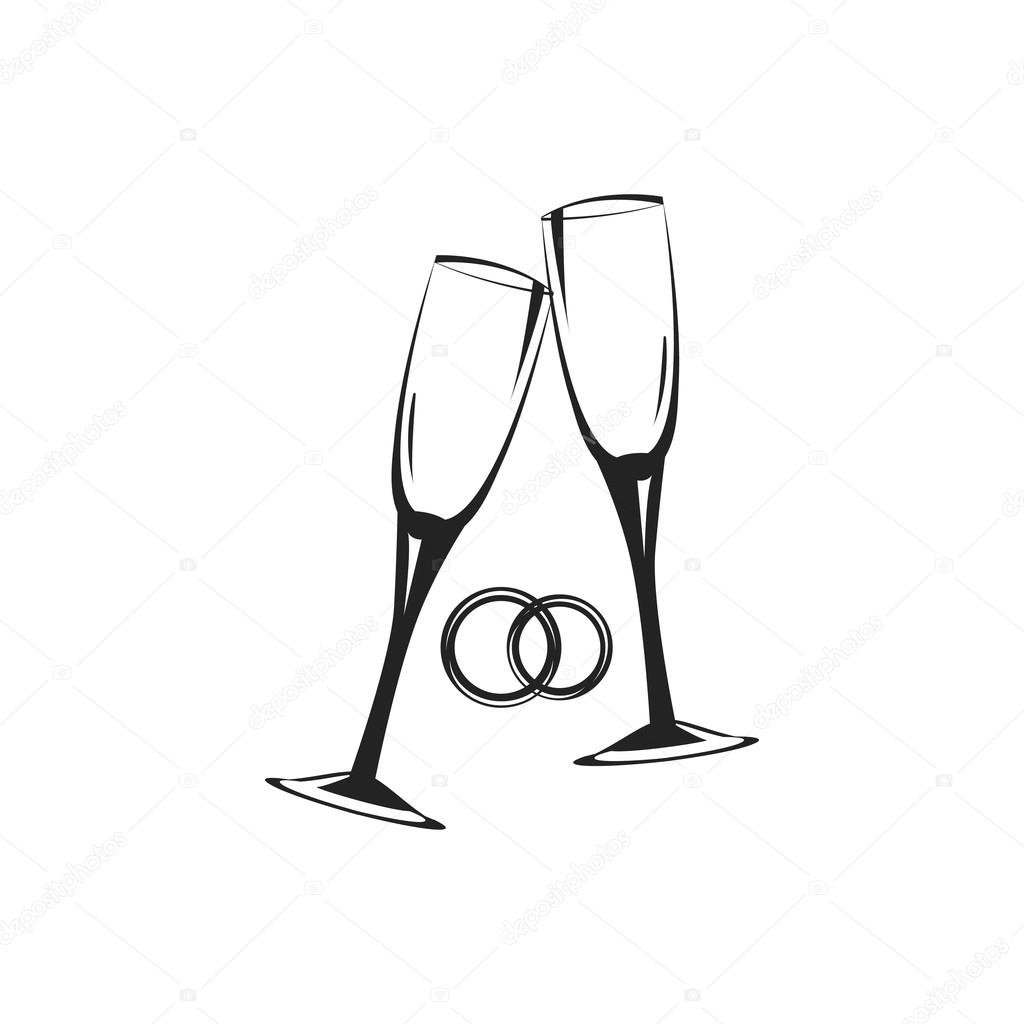 Hochzeit Gläser Und Ringe Symbole Vektor Illustration
