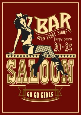 Sexy Cowgirl sitting on the letters saloon. Vintage Bar poster. Vector illustration.