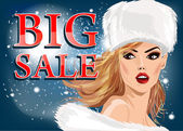 Beautiful young blonde woman  in  fur cap on a winter background. Big sale