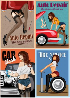 Set of posters. Woman  repairing the car. Retro style illustration