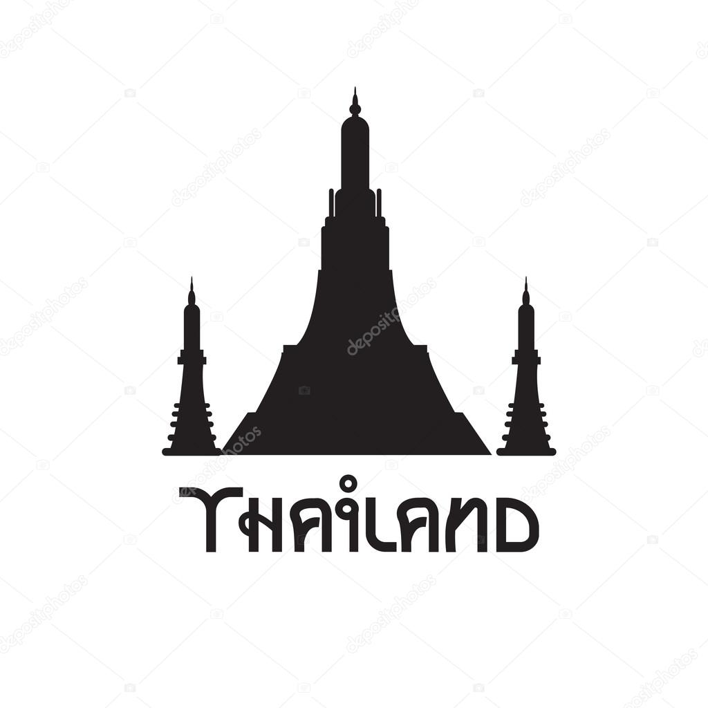 Black and white temple in Thailand. Vector simbol.