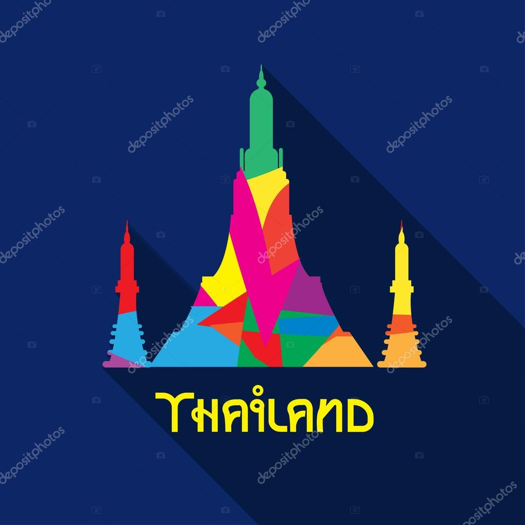 Colorful temple in Thailand on blue background. Vector simbol.