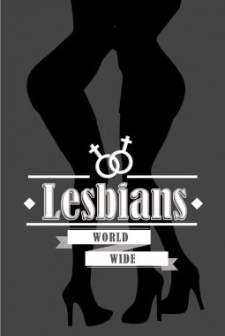 Female legs black and white. Pair of two lesbians, vector illustration.