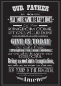 Das Gebet des Lords. Literal Entwurf. Vektor-illustration
