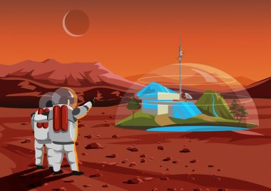 Space home on Mars. The base humans in space. Vector illustration