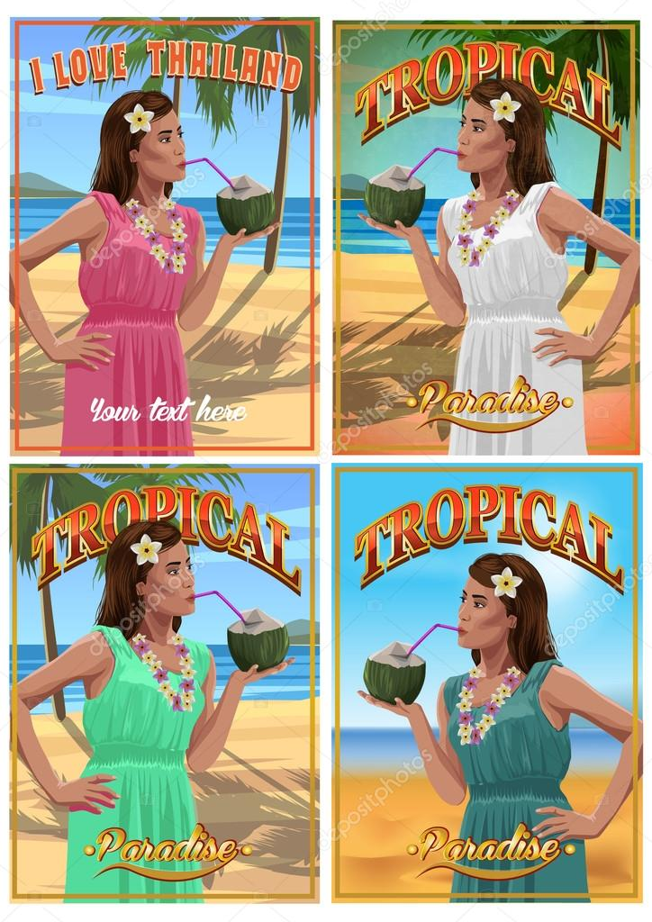 Set of tropical posters. Pretty young woman with coconut in hands on a  beach.  Vector illustration