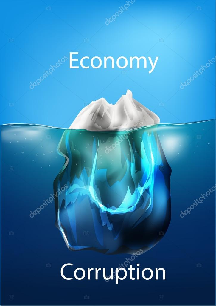 Iceberg in the ocean, concept of comparison, economy and corruption. Vector illustration
