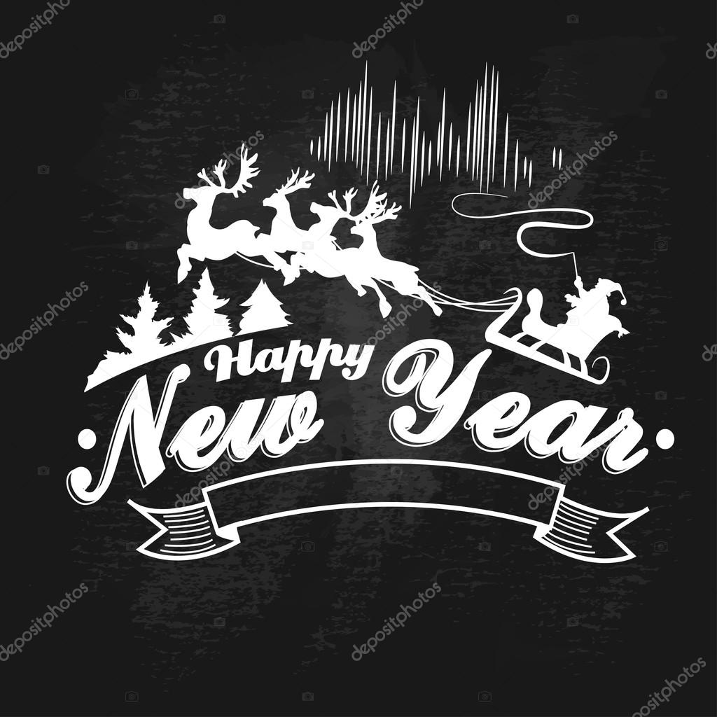 vintage happy new year label badges and design elements vector illustration stock vector