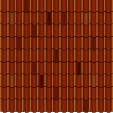 Red corrugated tile element of roof. Seamless pattern. Vector illustration