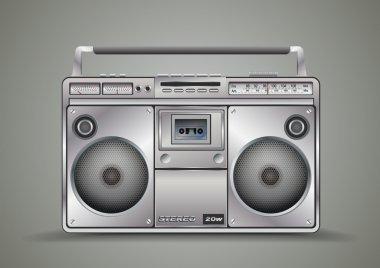 Vintage tape recorder for audio cassettes. Music boombox. Vector illustration.