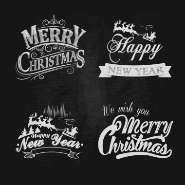 Christmas and New Year vintage chalk text labels on a blackboard. Vector illustration