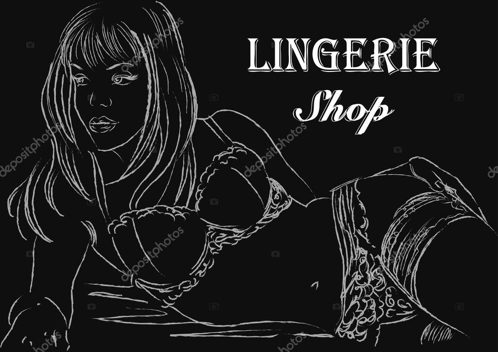 Hand drawn retro poster lingerie shop. Vector illustration