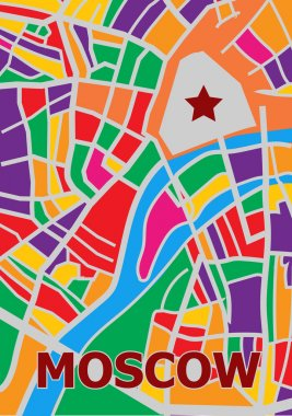 Abstract map of center  Moscow City. Vector illustration