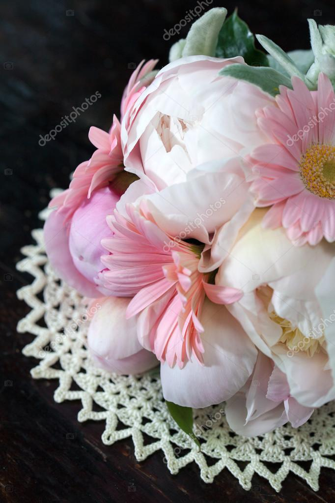 bouquet of pink peonies and irises