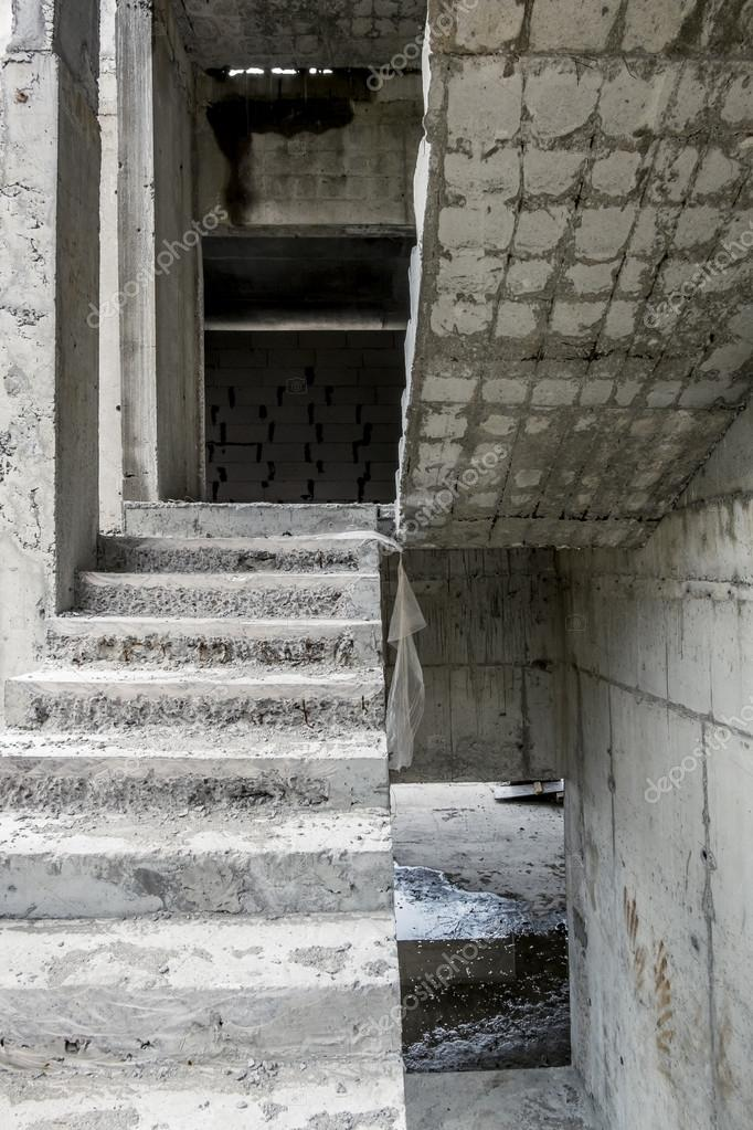 View Of The Concrete Stairs, And Concrete Blocks In An Unfinished House U2014  Photo By Toshket