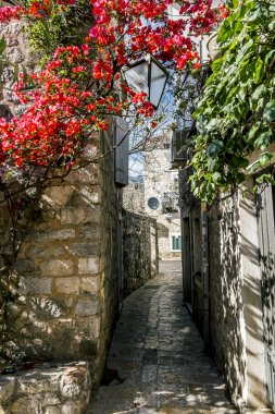 narrow streets of the old town of Budva, Montenegro.