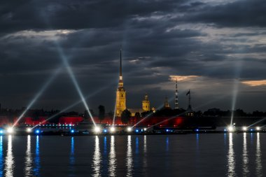 View of the Peter and Paul fortress in St. Petersburg at evening