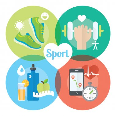Healthy life concept flat icons