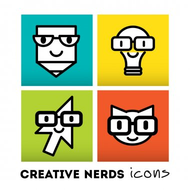 Nerds icon set with funny faces