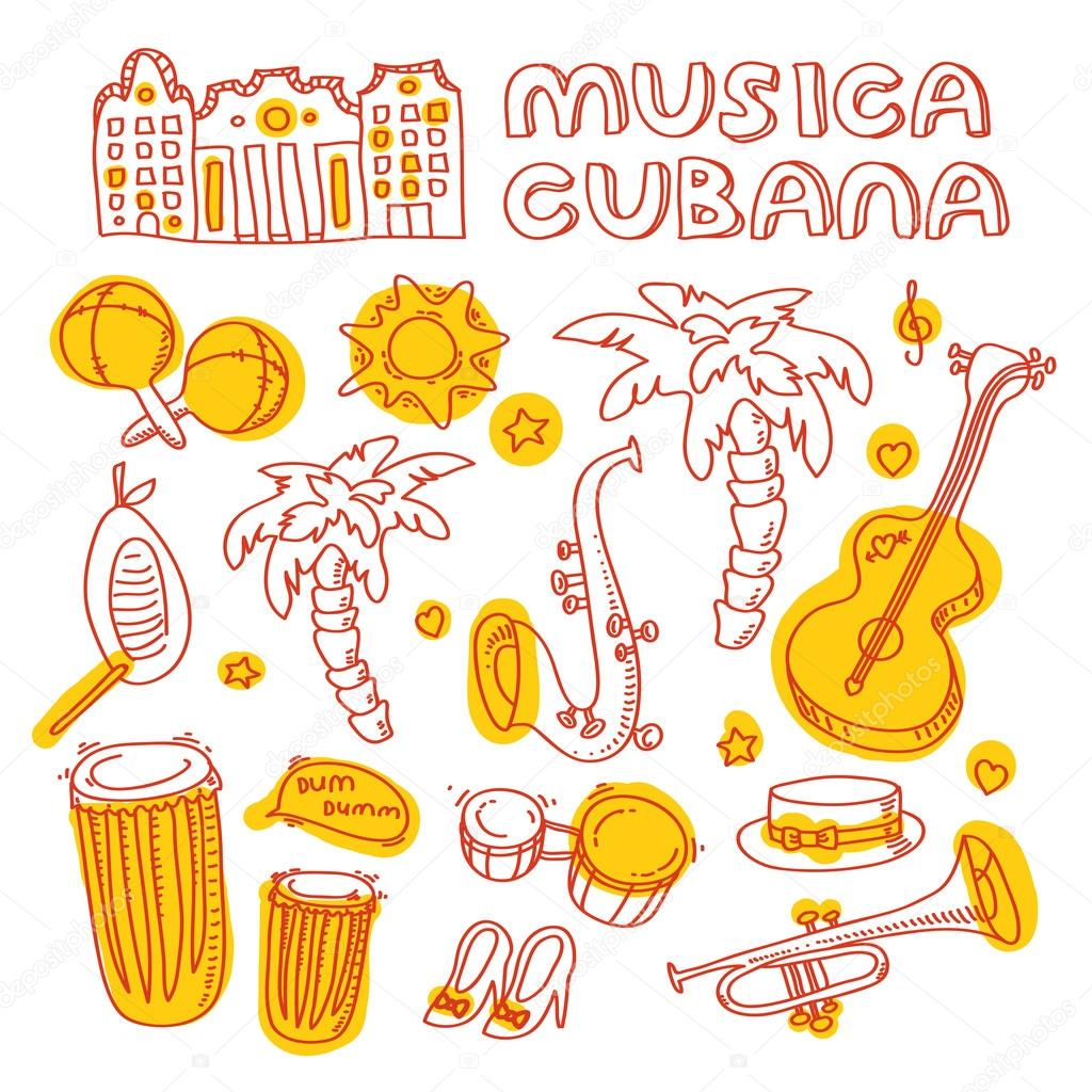 Cuban music illustration with musical instruments, palms, traditional architecture.