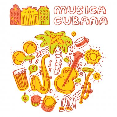 Salsa dance and music instruments icons
