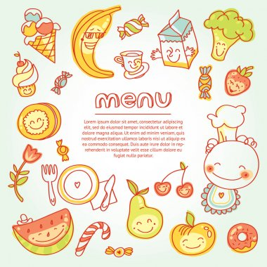 Child food menu with colorful fruits