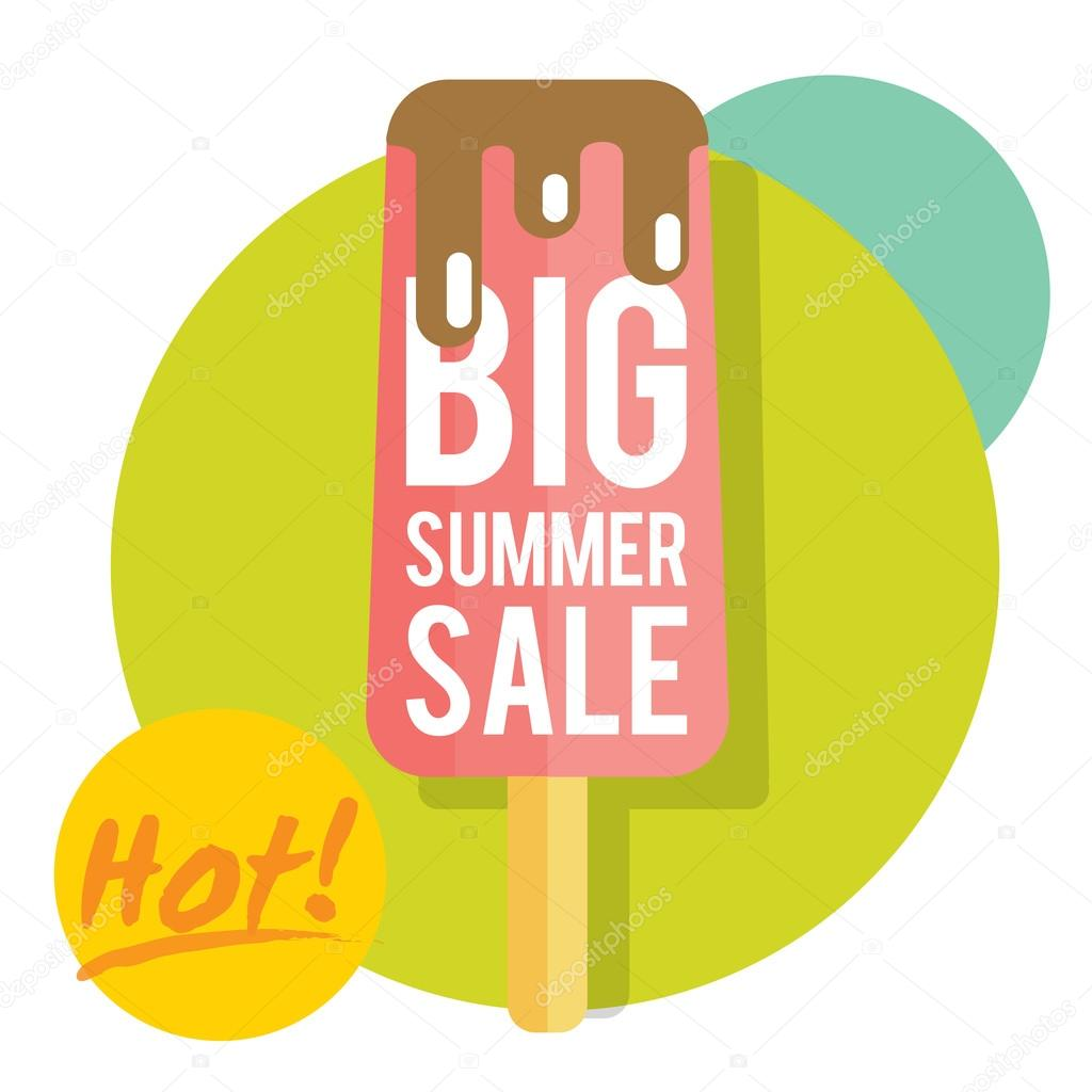 Template for summer sale with ice-cream — Stock Vector © Olyzel ...