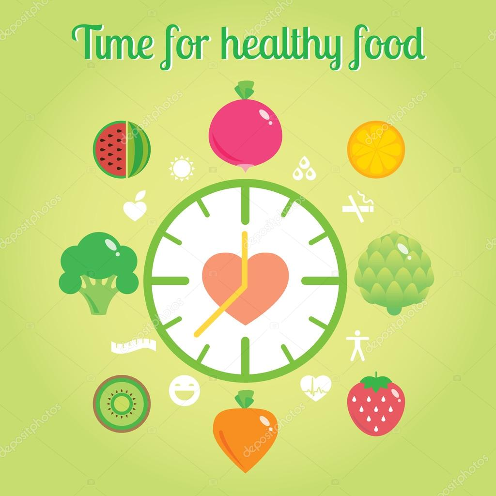 Time for healthy food info graphic clock.