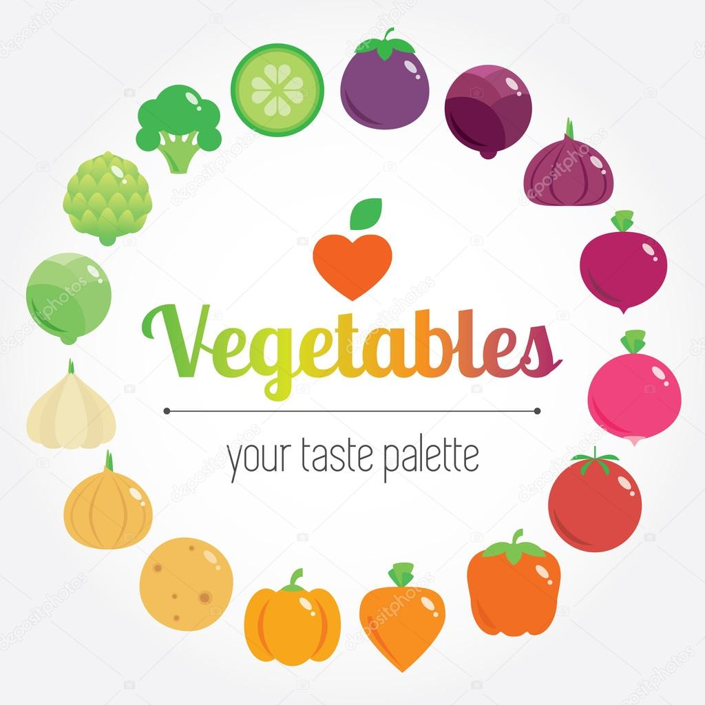 Colourful rainbow round vegetables background with place for logo or text.
