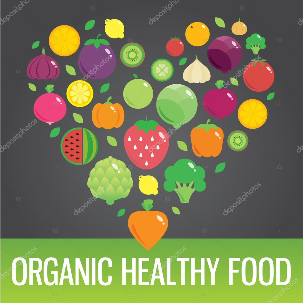 Vegetables and fruits round flat icons in heart. Organic healthy food.