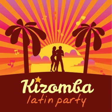 Kizomba poster for party. Dancing couple.