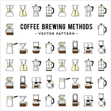 Coffee brewing methods pattern.