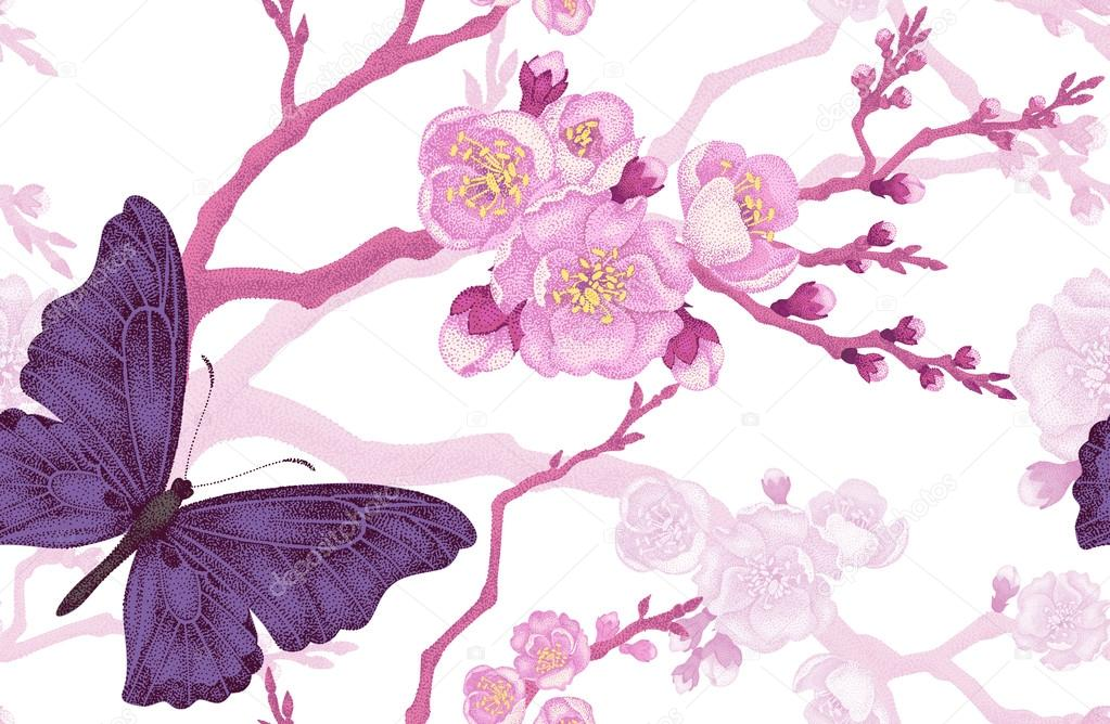 Seamless pattern with butterfly and cherry branch.