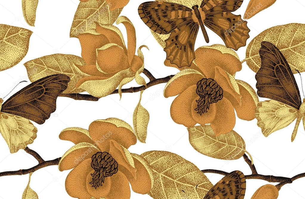 Illustration of magnolia flowers and butterflies.