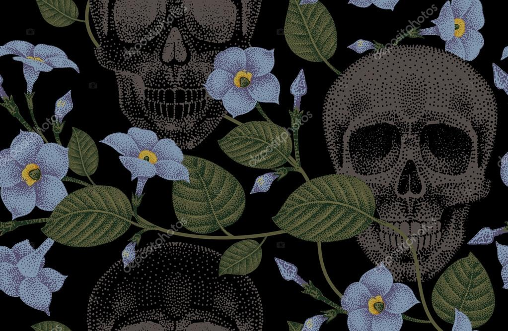 Seamless pattern with flowers and skulls.
