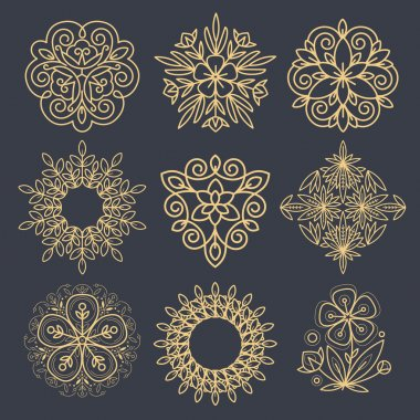 Set of decorative elements to create a logo.
