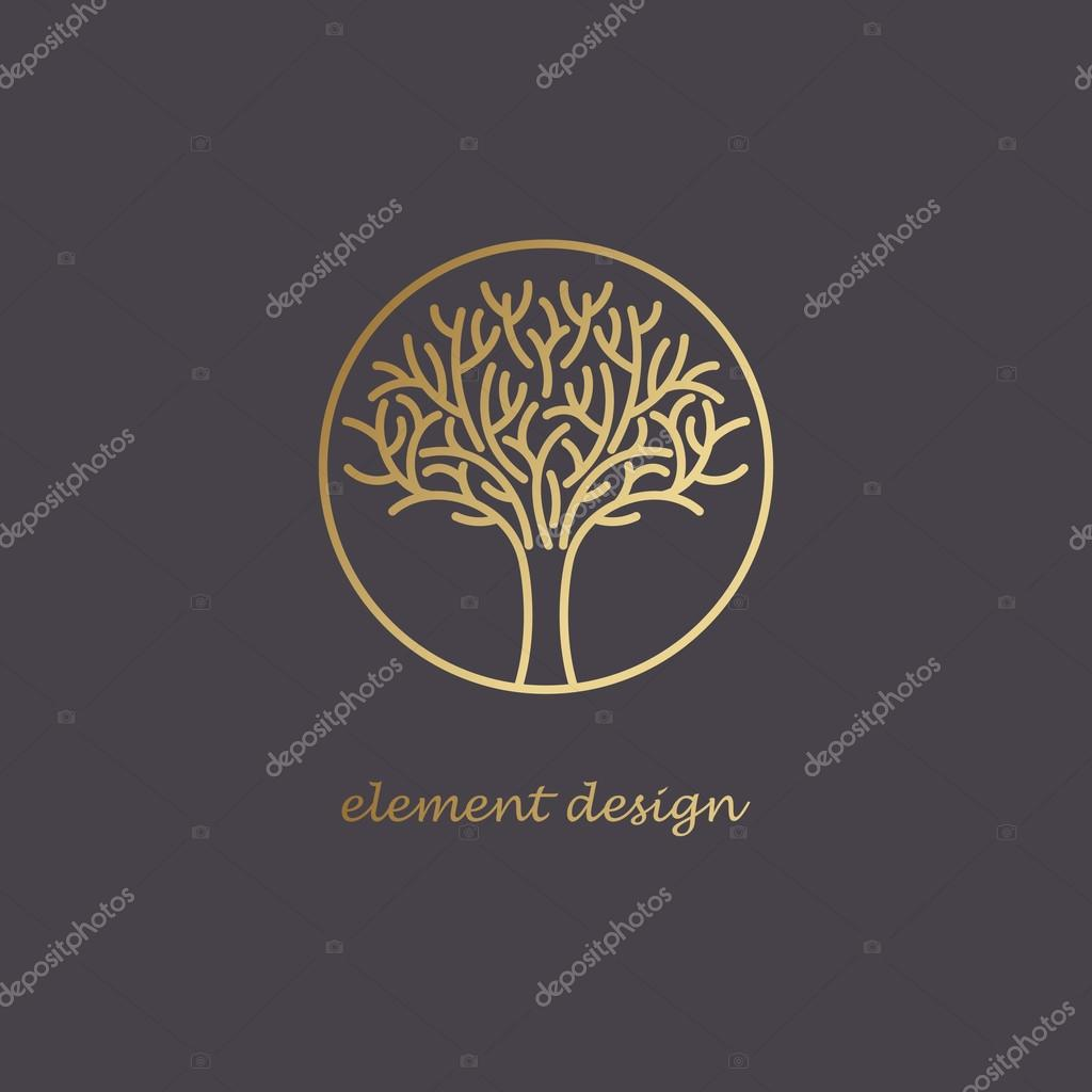 Decorative tree icon to create a logo.