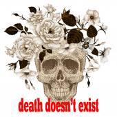 Fotografia Il poster con limmagine di un teschio che indossa una corona di fiori