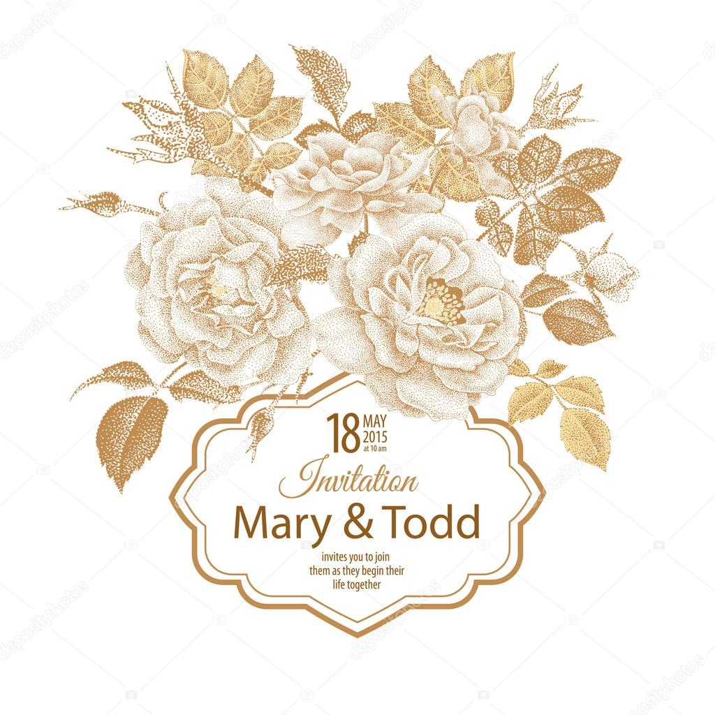 Vector wedding invitation template with roses. — Stock Vector ...