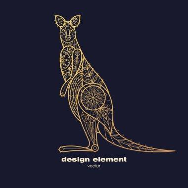 Vector image of decorative animal kangaroo.