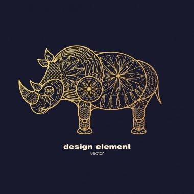 Vector image of decorative animal rhino.