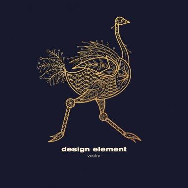 Vector decorative image of an ostrich bird.