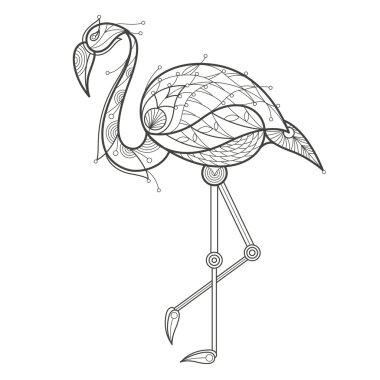 Adult coloring. Bird flamingo.