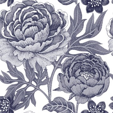 Seamless pattern with flowers peonies.