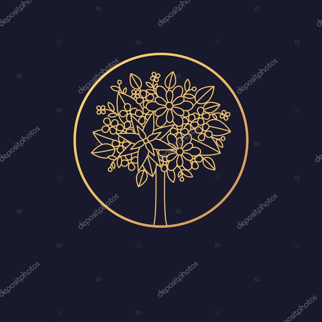 Linear logo blossoming tree.