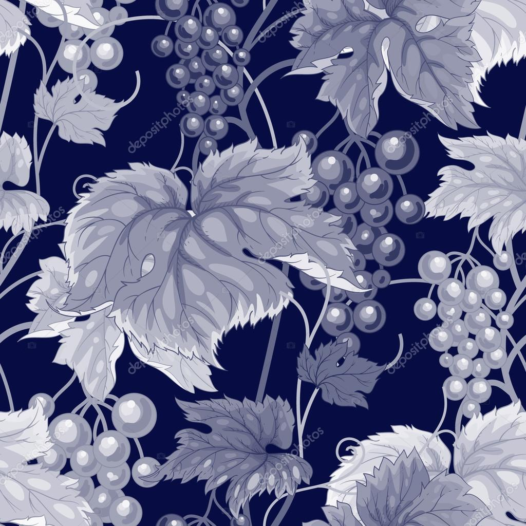 Seamless vector pattern with wild grapes.