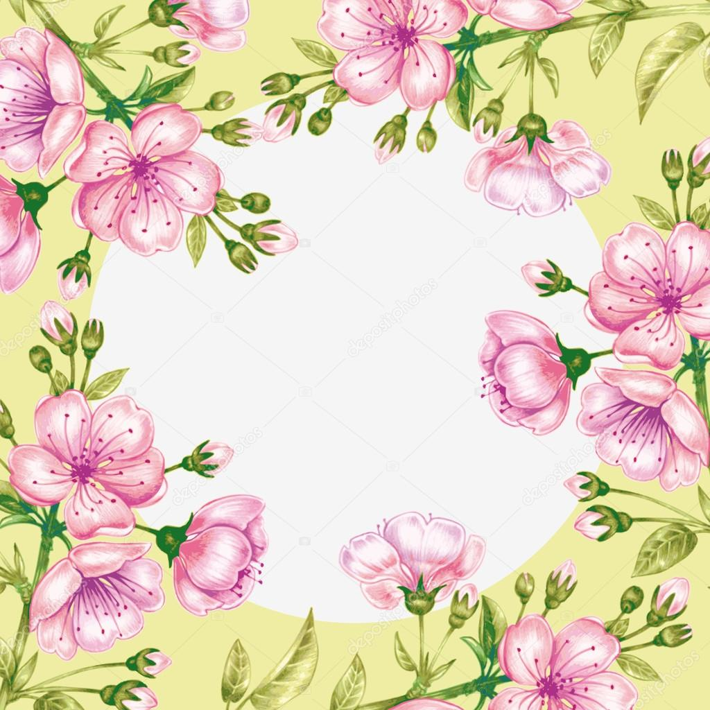 Vector seamless pattern with cherry blossom.