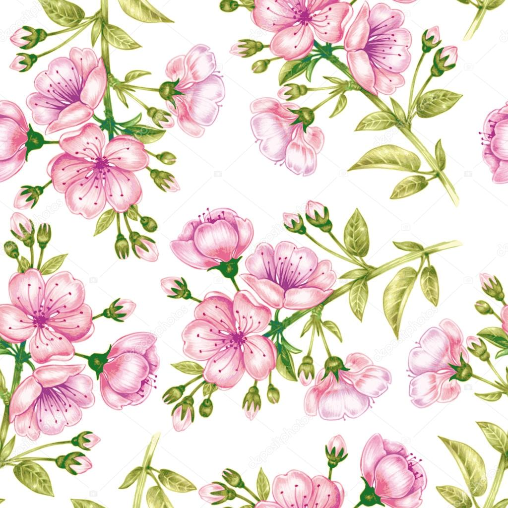 Vector seamless pattern with cherriy blossom.